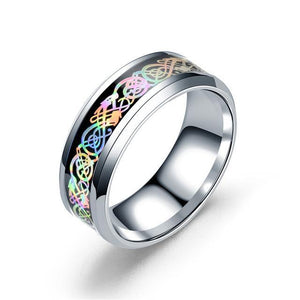 Fanduco Jewelry 6 / Silver Rainbow Celtic Dragon Rings