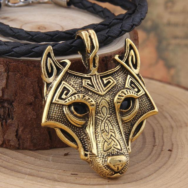 Fanduco Necklaces Gold / Leather Fenrir Wolf Necklace