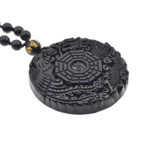 Fanduco Necklaces Hand Carved Dragon Phoenix Obsidian Necklace