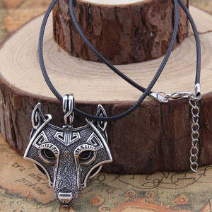 Fanduco Necklaces Silver / Leather Fenrir Wolf Necklace