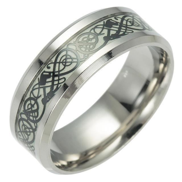 Fanduco Rings 6 / Black Celtic Dragon Glow In The Dark Ring
