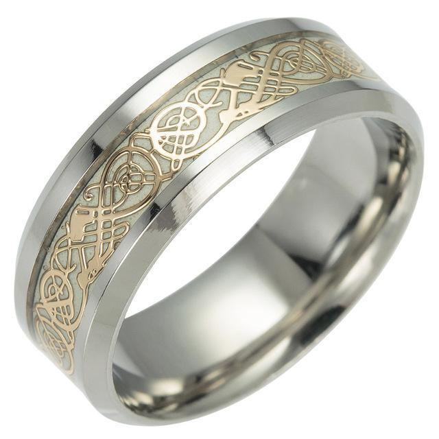 Fanduco Rings 6 / Gold Celtic Dragon Glow In The Dark Ring