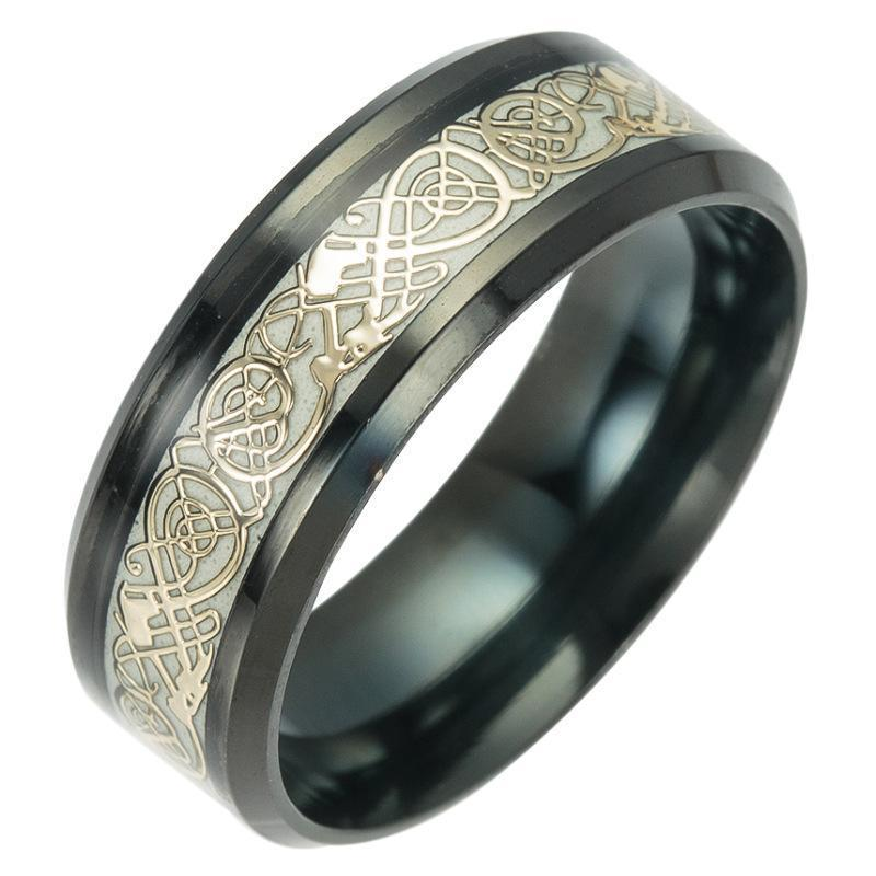 Fanduco Rings 6 / Gold / Titanium Steel Celtic Dragon Glow In The Dark Ring
