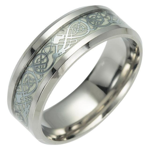 Fanduco Rings 6 / Silver Celtic Dragon Glow In The Dark Ring