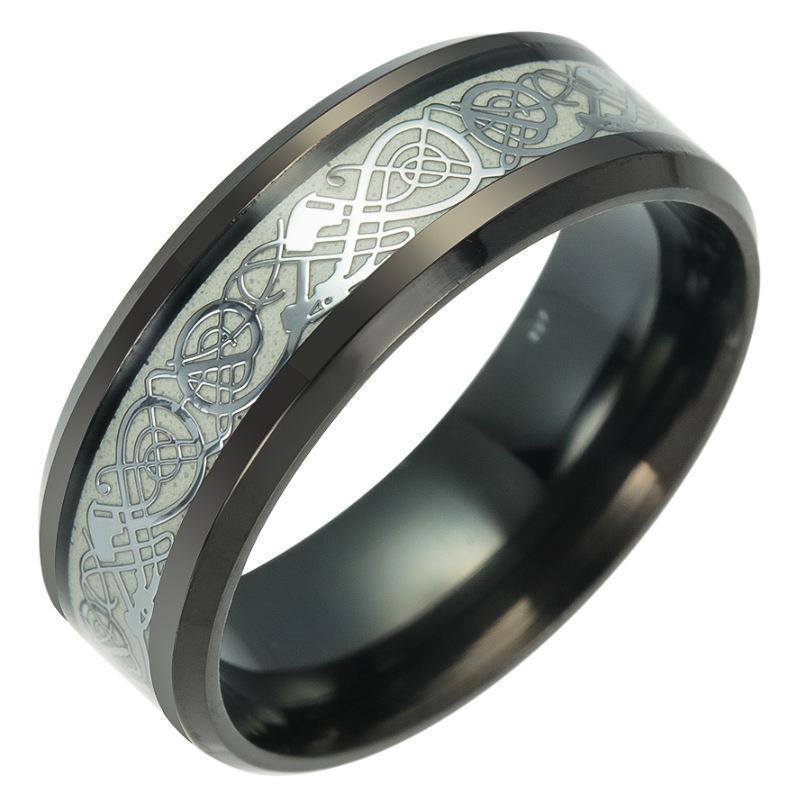 Fanduco Rings 6 / Silver / Titanium Steel Celtic Dragon Glow In The Dark Ring