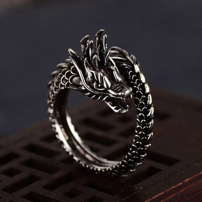 Fanduco Rings Adjustable Coiled Dragon Ring