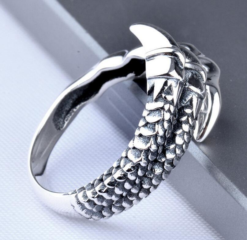 Fanduco Rings Adjustable (Ring Size 7 to 10) / Sterling Silver Dragon Claw Ring