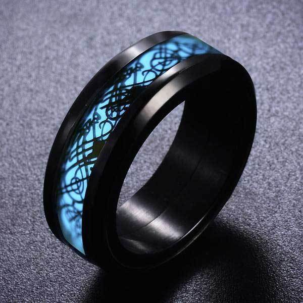 Fanduco Rings Celtic Dragon Blue Glow Ring