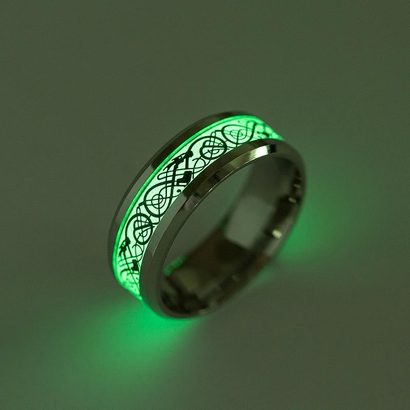 Fanduco Rings Celtic Dragon Glow In The Dark Ring