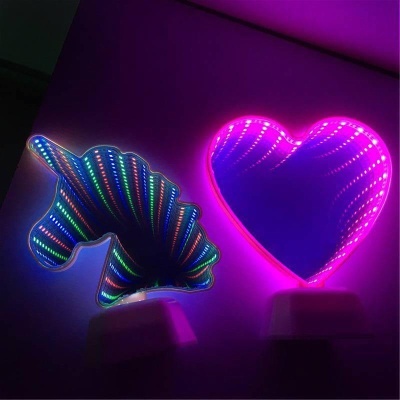 Neon Infinity Mirror Night Lights - Wyvern's Hoard