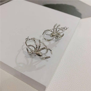 Crawling Spider Hoop Earrings