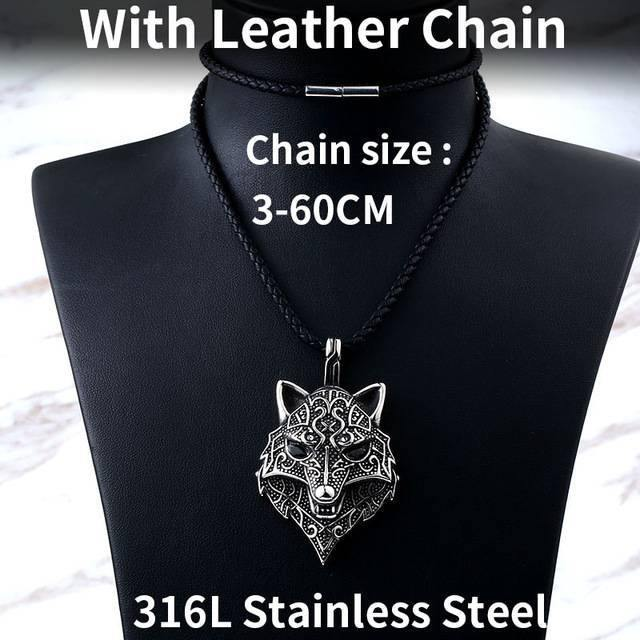 Fenrir Wolf Head Stainless Steel Necklace
