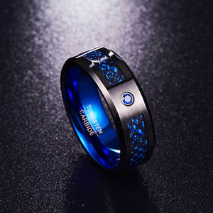 Celtic Dragon Tungsten Carbide Rings With Carbon Fiber Inlay