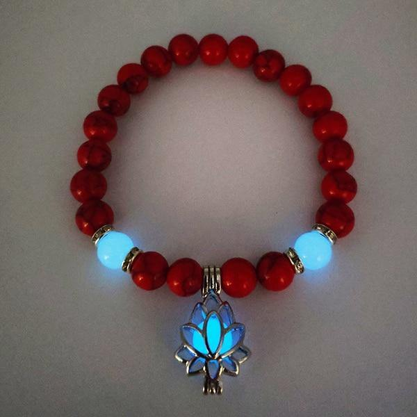 Glow in the Dark Lotus Stone Bracelet - Wyvern's Hoard