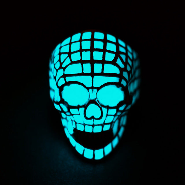 Glow In The Dark 3D Skull Ring