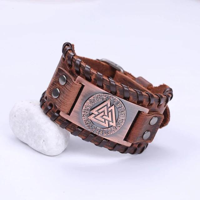 Valknut Leather Bracelet - Wyvern's Hoard