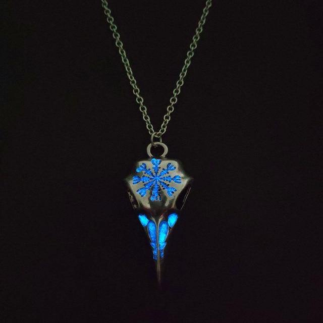 Glow in the Dark Runic Raven Amulet Necklace - Wyvern's Hoard