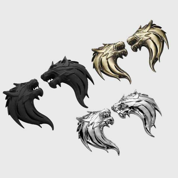 Epic Wolf Head Emblems (1 Pair)