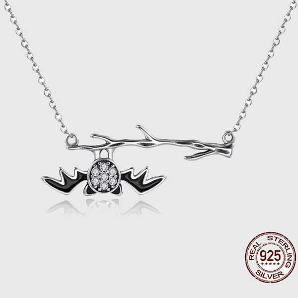 Hanging Bat Sterling Silver Necklace
