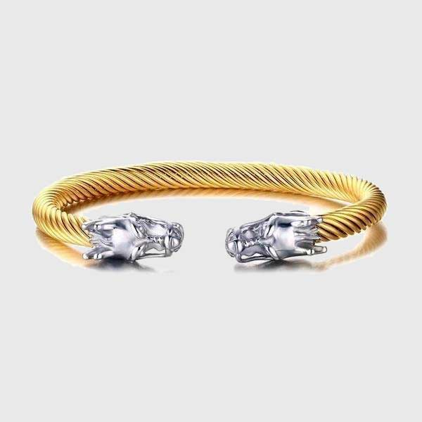 Double Dragon Heads Steel Cable Bracelet