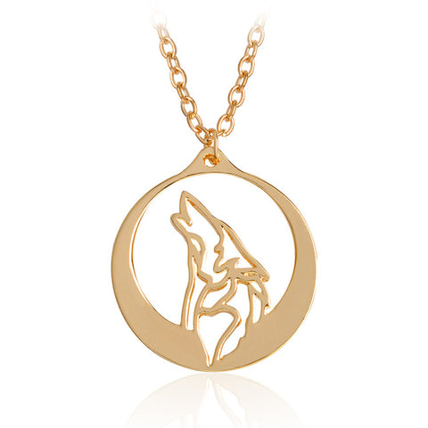 Image of Howling Wolf With Silver Moon Pendant Necklace - That Good Deal