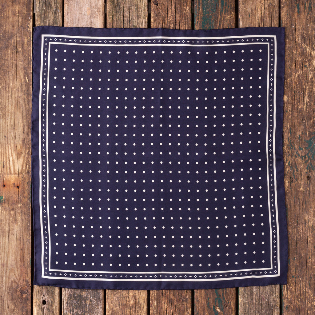 Navy white silk polka dot Macclesfield pocket square