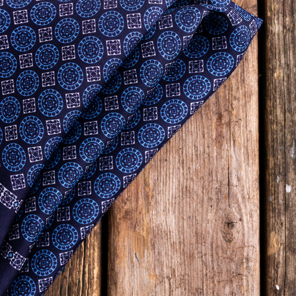 Navy and blue Macclesfield silk pocket squar