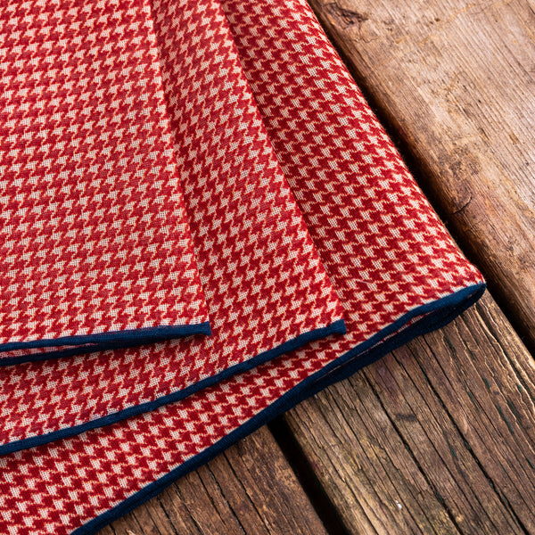 Puppytooth cotton modal cashmere Macclsfield pocket square