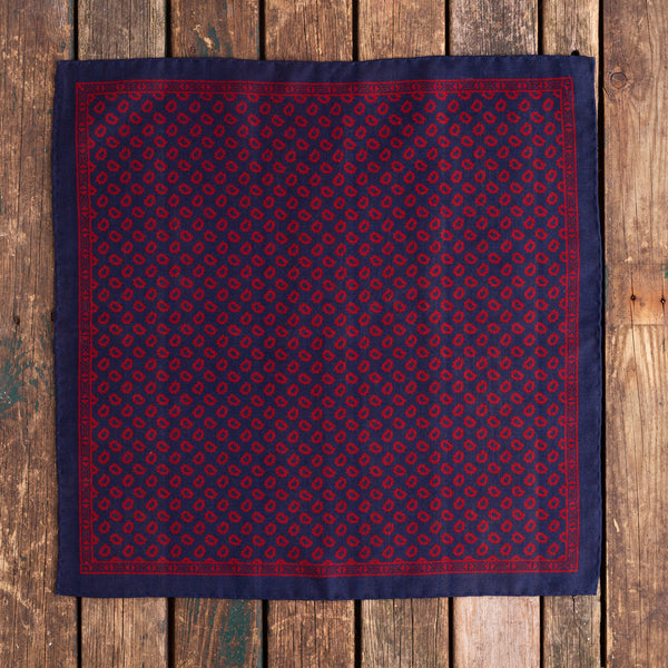 Navy and red Macclesfield wool/silk pocket square