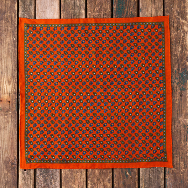 Orange Macclesfield wool/silk pocket square