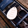 Navy wool and cordovan Albert Thurston braces