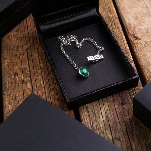 Barbarulo Napoli green gemstone silver lapel chain