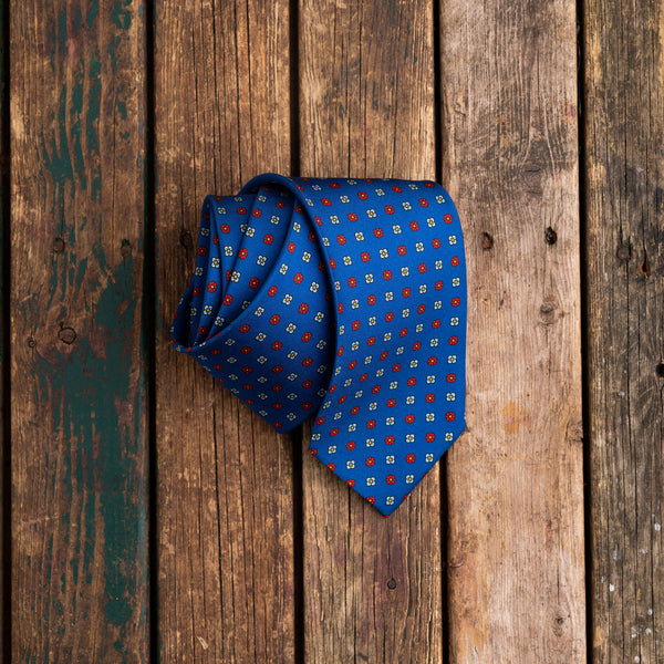 Royal Blue printed Macclesfield silk tie