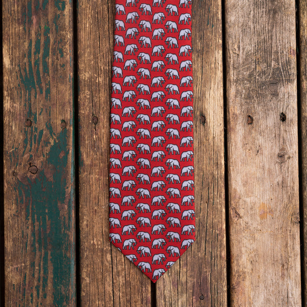 Red elephant printed Macclesfield silk tie