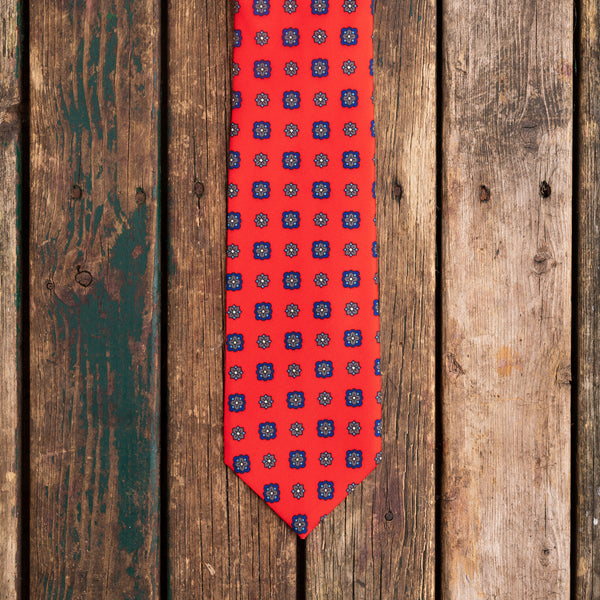 Bright red printed Macclesfield silk tie