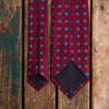 Burgundy printed Macclesfield silk tie