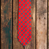 Red printed Macclesfield silk tie