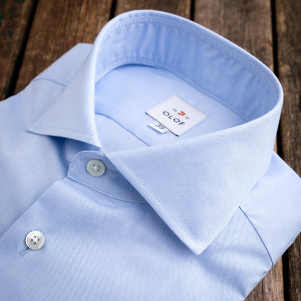 Cutaway light blue shirt