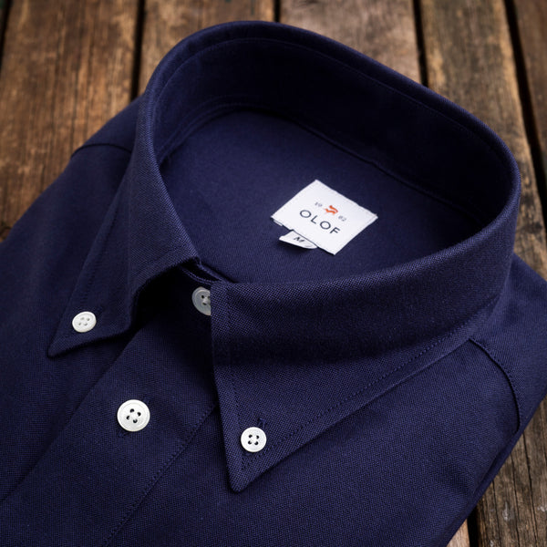 Pop-over shirt in navy oxford