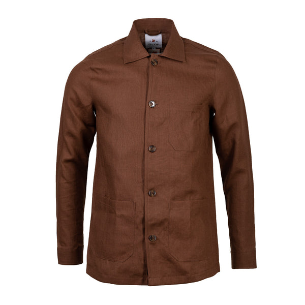 Overshirt tobacco brown Irish linen