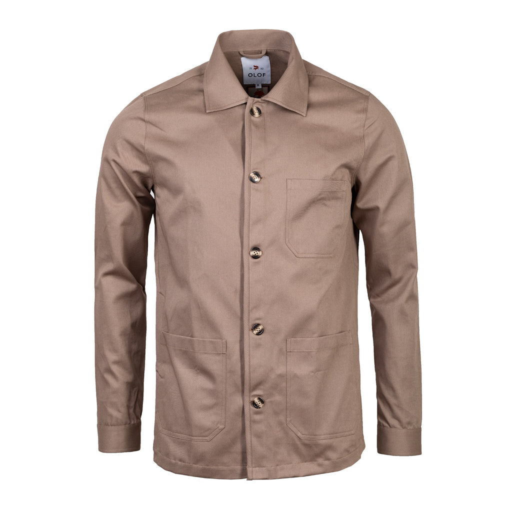 Overshirt in British khaki cotton