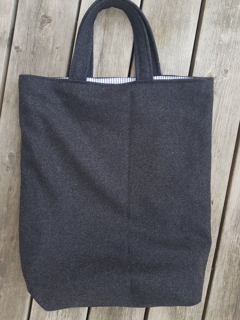 Melton wool tweed tote