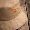 Khaki cotton fox bucket hat
