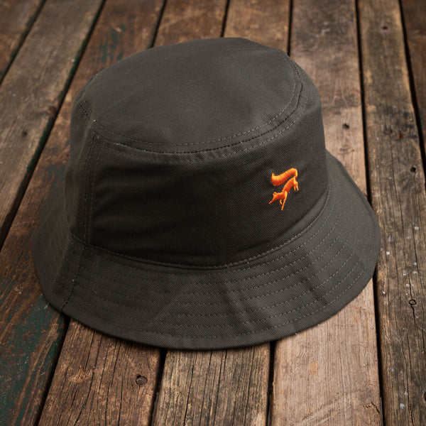 Green cotton fox bucket hat