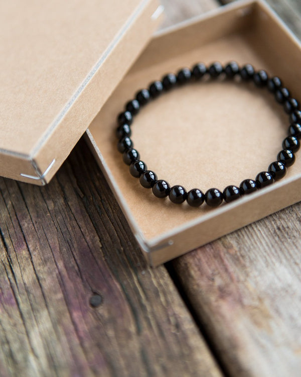 6 mm gemstone bracelet black onyx