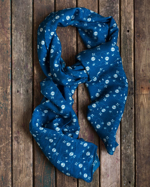 Indigo blue wool scarf