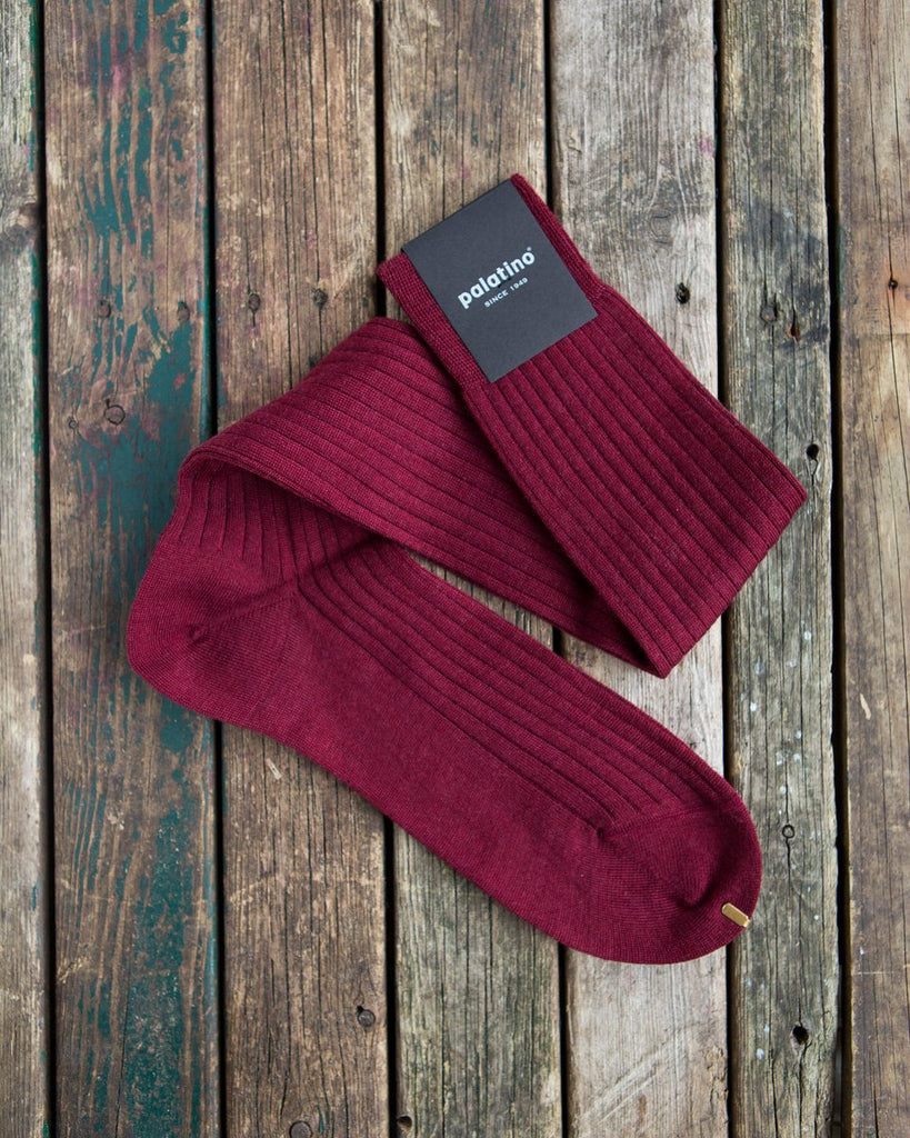 Burgundy wool socks Palatino Rome