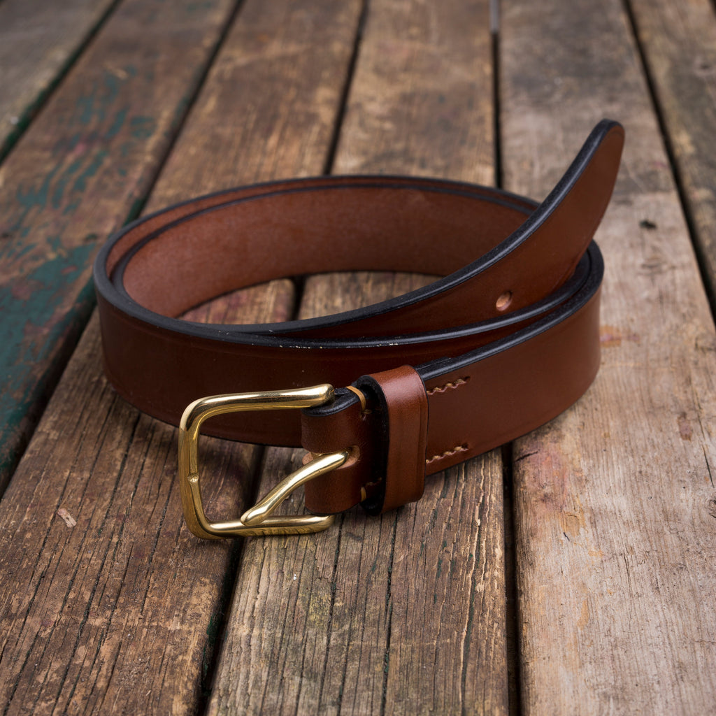 English bridle leather belt in cognac