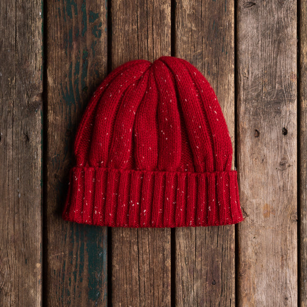 Red donegal wool knit hat