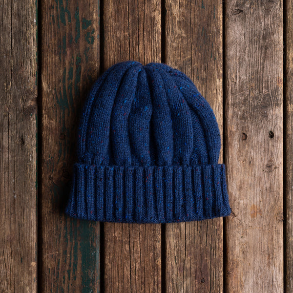 Blue donegal wool knit hat